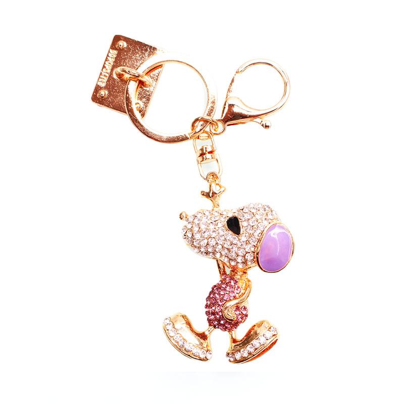Charm Snopi Diamond Gantungan Handphone - Purple