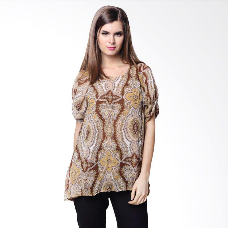 Chick Shop Long Blouse Motif Batik Thai Coklat Atasan Wanita