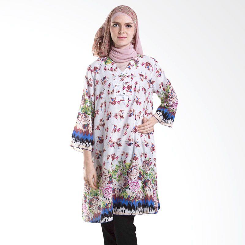 Chick Shop Tunik Kembang White Atasan Muslim Wanita