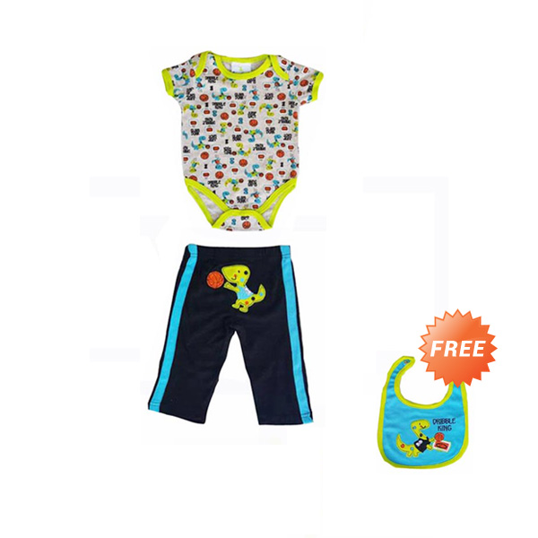 Chloe Babyshop 3 in 1 Dino Dribble F806 Jumper Bayi - Hijau