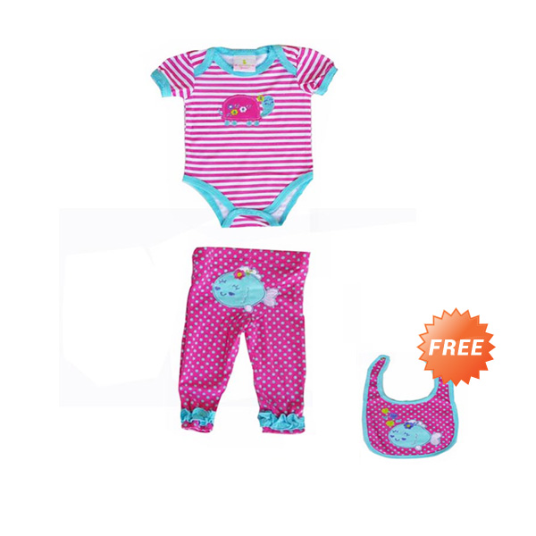 Chloe Babyshop 3 In 1 Fish Polka F810 Jumper Bayi - Pink