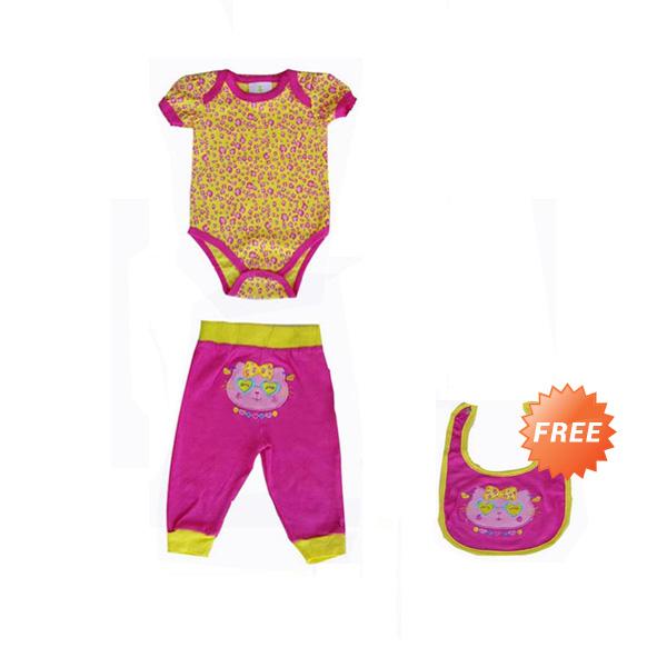 Chloe Babyshop 3 in 1 Leopard Kitty Ribbon F812 Jumper Bayi - Kuning