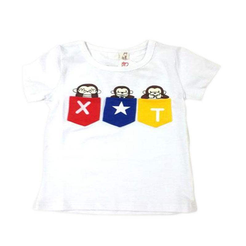 Chloe Babyshop 3 Monkey Putih T-shirt Anak