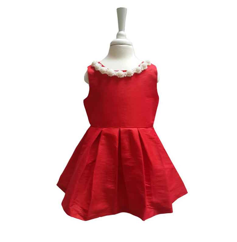 Chloebaby Shop C68 Mutiara Dress Anak - Red