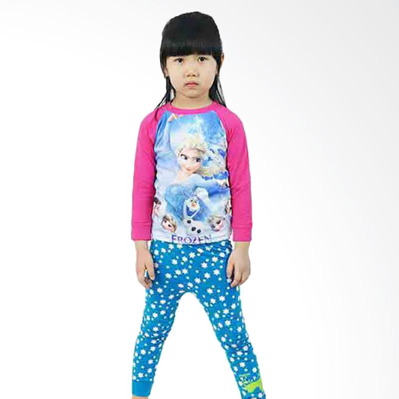 Chloe Babyshop F791 Pajama Glow In The Dark Frozen Set Baju Anak Perempuan - Biru