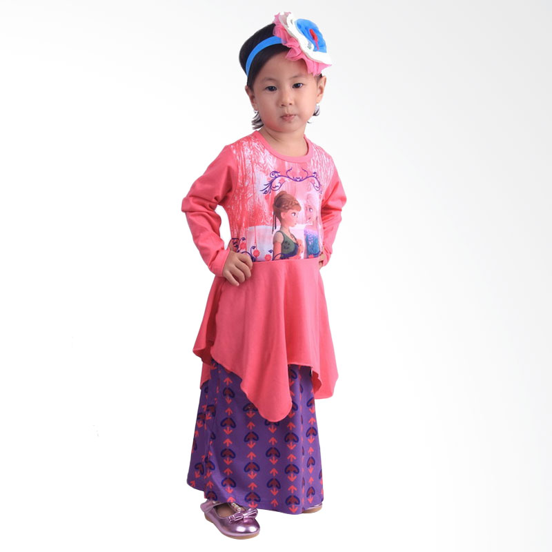 Chloe Babyshop F548 Frozen Rok Batik Gamis Anak - Pink