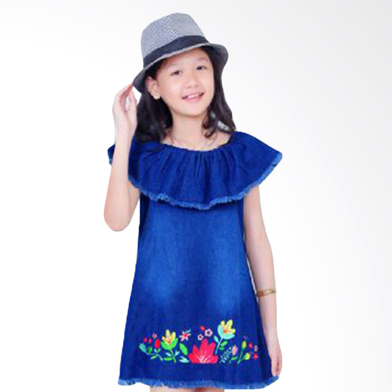 Chloe Babyshop Jeans Bordeir Flower F592 Dress Anak