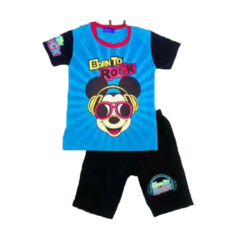 Chloe Babyshop Mickey Born to Rock F755 Setelan Anak Laki-laki