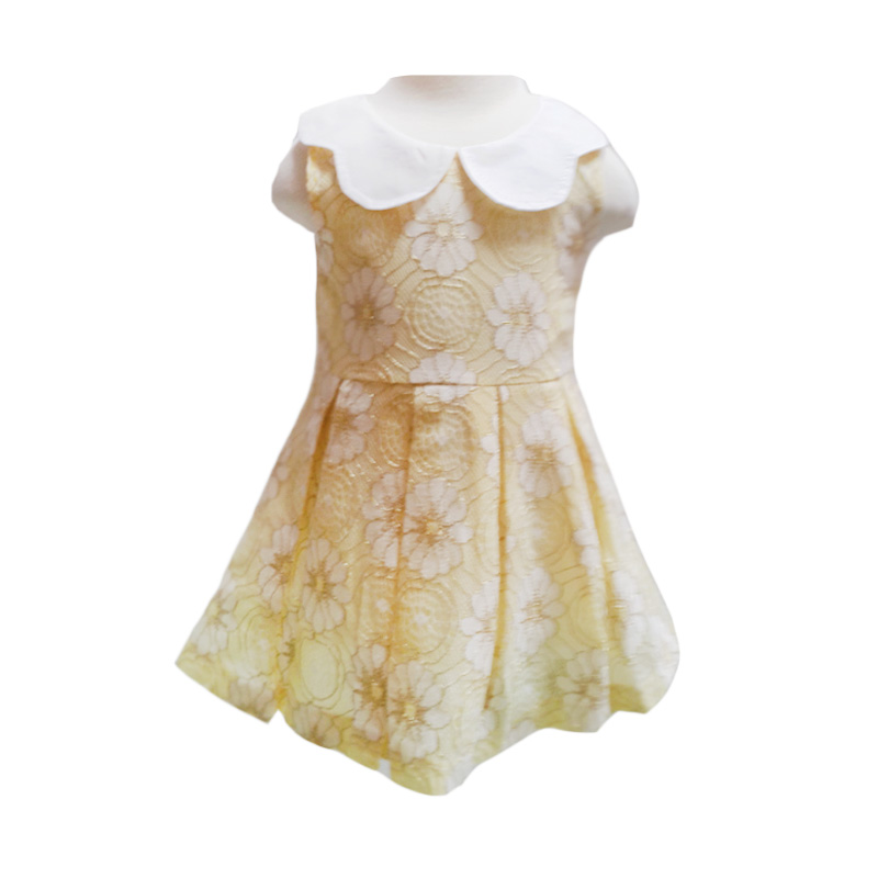 Chloebaby Shop Brukat Flower C6 Yellow Dress Anak