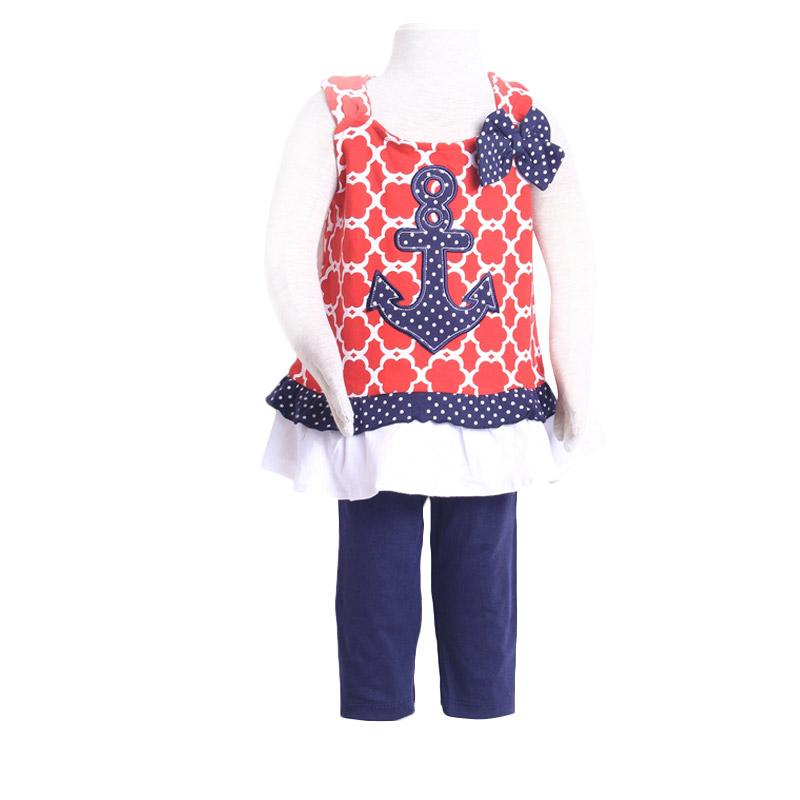 Chloebaby Shop F907 Jangkar Ribbon Set Setelan Anak - Merah