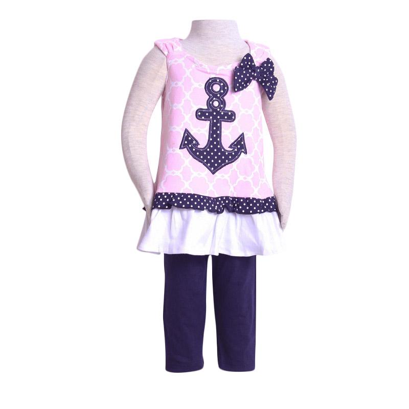 Chloebaby Shop F907 Jangkar Ribbon Set Setelan Anak - Pink Muda