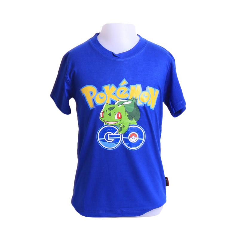 Chloebaby Shop T-Shirt Pokemon Go Frog F921 Atasan Anak - Biru