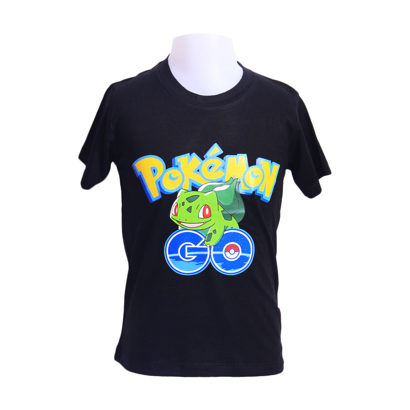 Chloebaby Shop T-Shirt Pokemon Go Frog F921 Atasan Anak - Hitam