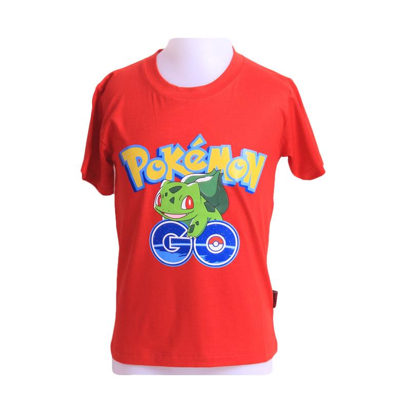 Chloebaby Shop T-Shirt Pokemon Go Frog F921 Atasan Anak - Merah
