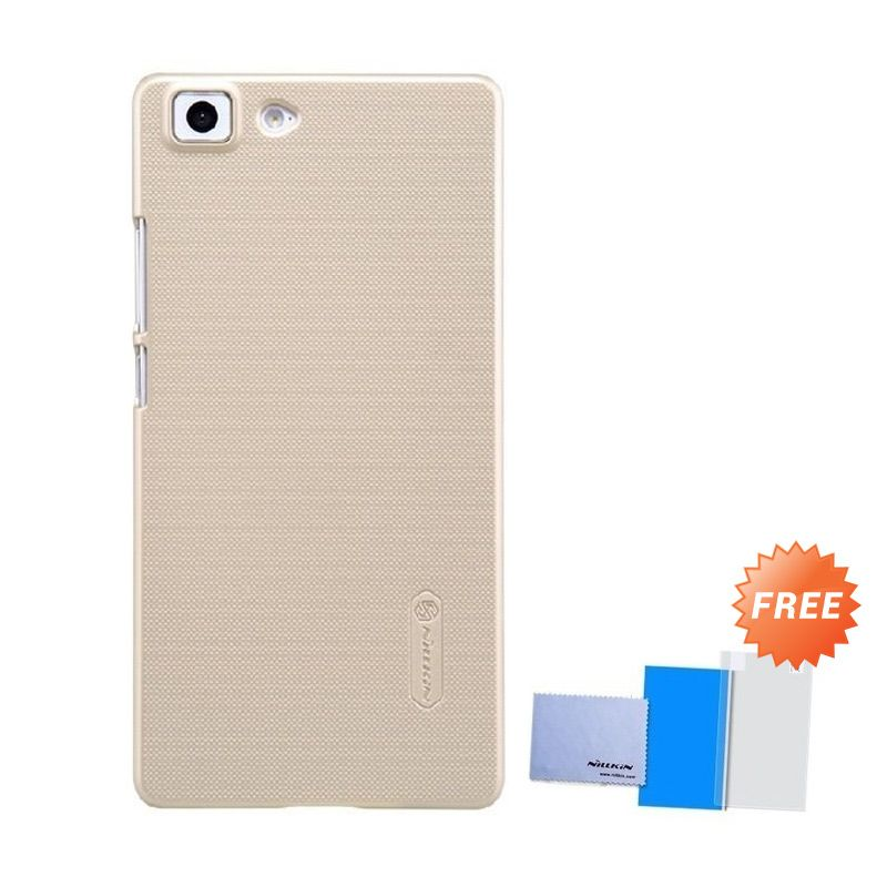 Nillkin Super Frosted Shield Gold Casing for Oppo R5 + Anti Gores