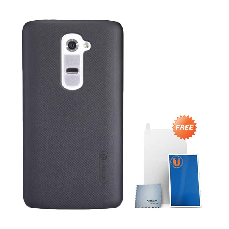 Nillkin Super Frosted Shield Black Casing For LG G2 + Anti Gores