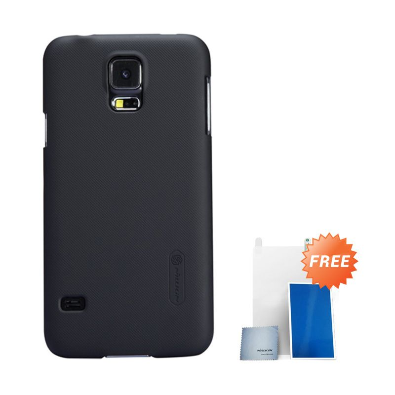 Nillkin Super Frosted Shield Black Casing For Samsung S5 G900 + Anti Gores