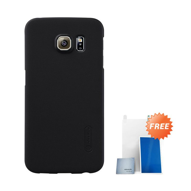 Nillkin Super Frosted Shield Hitam Casing For Samsung S6 Edge + Anti Gores