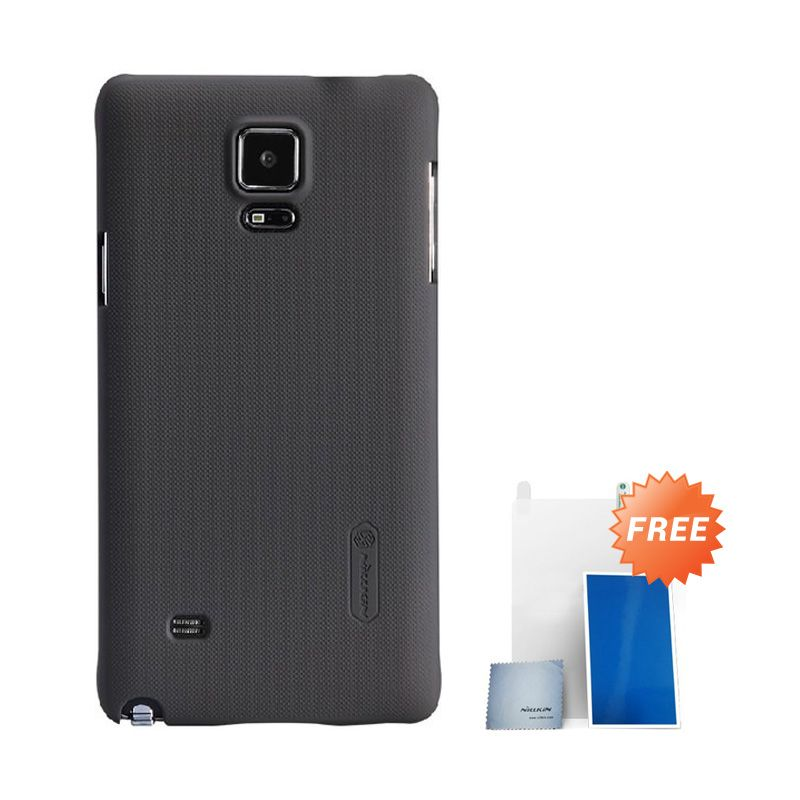 Nillkin Super Frosted Shield Coklat Casing For Samsung Galaxy Note 4 + Nilkin Screen Protector