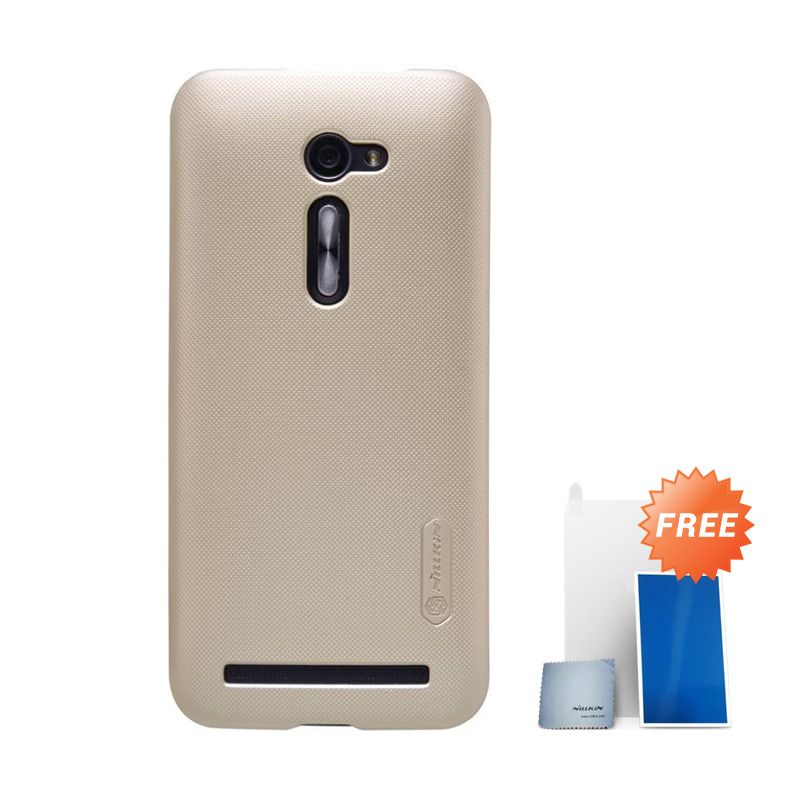 Nillkin Super Frosted Shield Gold Casing for Asus Zenfone 2 ZE500CL + Screen Protector