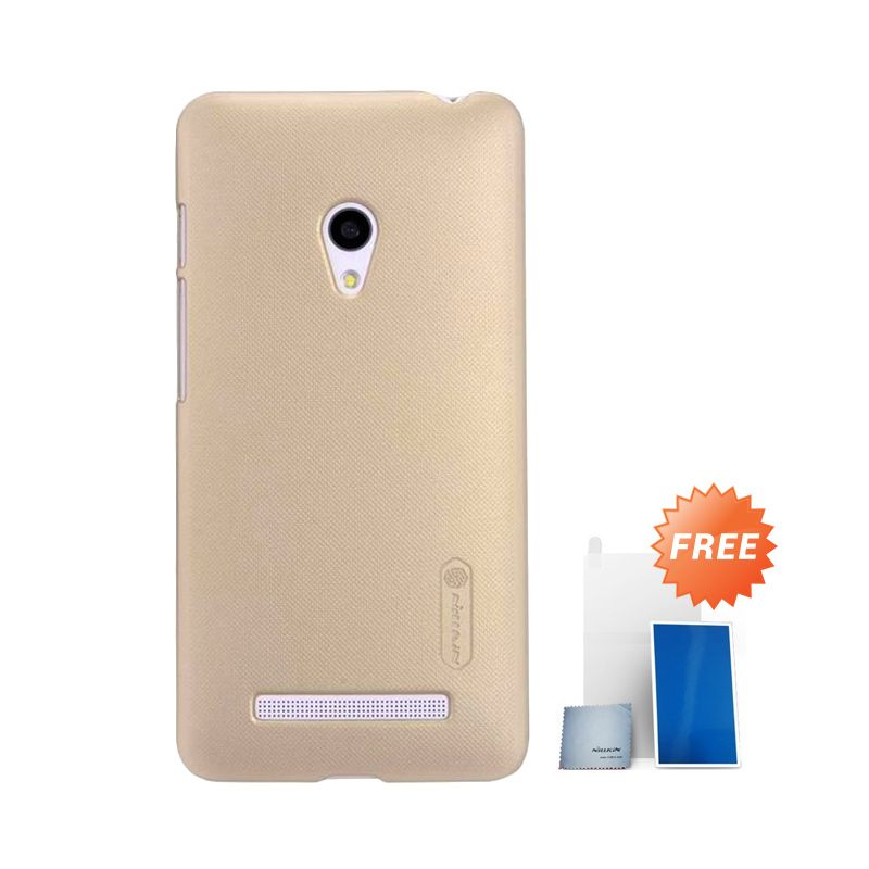 Nillkin Super Frosted Shield Gold Casing for Asus Zenfone 5 + Screen Protector