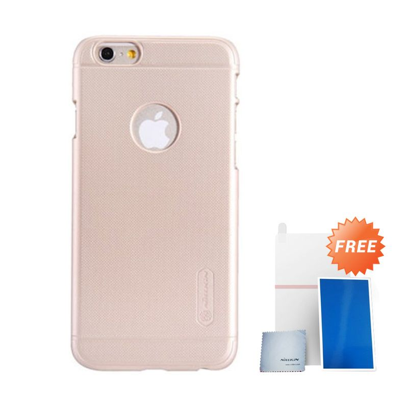 Nillkin Super Frosted Shield Gold Casing For Iphone 6 + Anti Gores