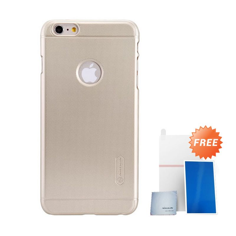 Nillkin Super Frosted Shield Gold Casing For Iphone 6+ + Anti Gores