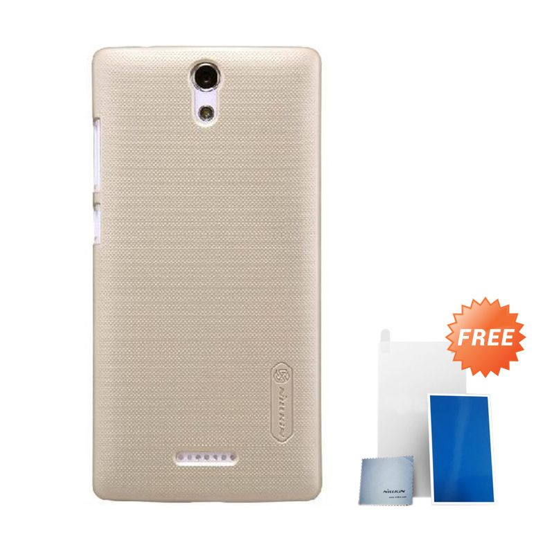 Nillkin Super Frosted Shield Gold Casing for Oppo Mirror 3 + Anti Gores