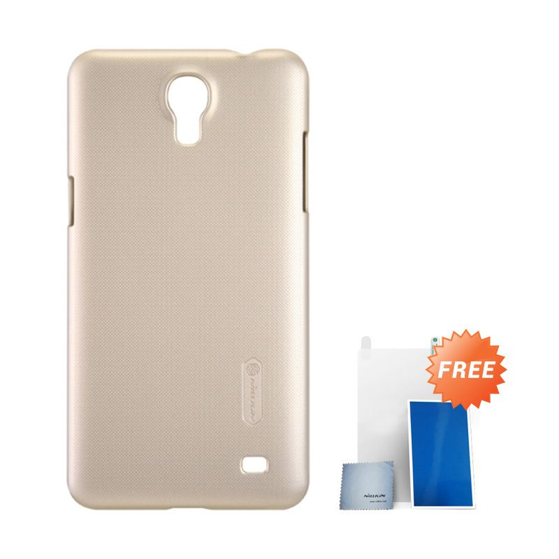 Nillkin Super Frosted Shield Gold Casing For Samsung Mega 2 + Anti Gores