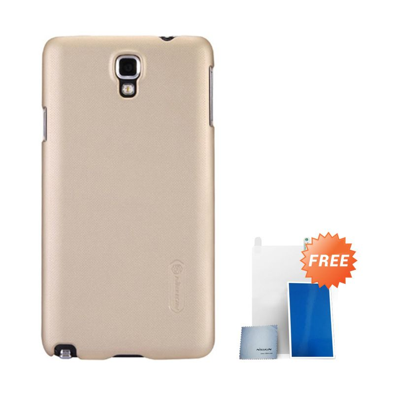 Nillkin Super Frosted Shield Gold Casing For Samsung Note 3 N900 + Anti Gores