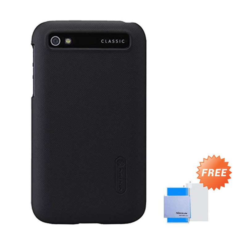 Nillkin Super Frosted Shield Hitam Casing for Blackberry Classic Q20 + Anti Gores