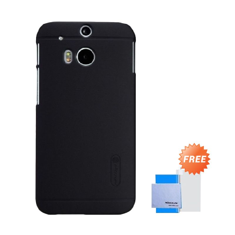 Nillkin Super Frosted Shield Hitam Casing for HTC New One M8 + Anti Gores