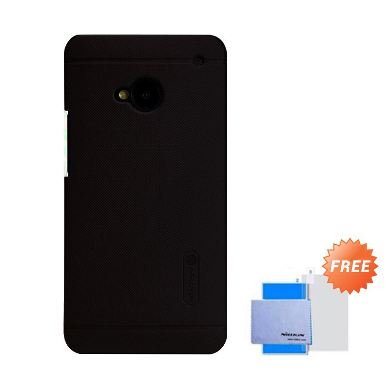 Nillkin Super Frosted Shield Hitam Casing for HTC One 802T + Anti Gores