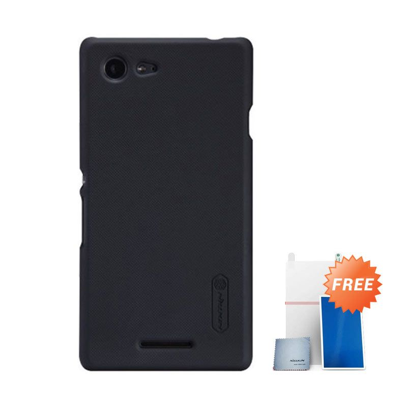 Nillkin Super Frosted Shield Hitam Casing For Sony Xperia E3 + Nilkin Screen Protector