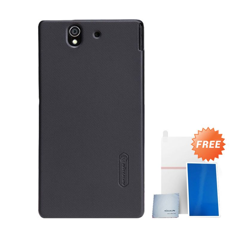 Nillkin Super Frosted Shield Hitam Casing For Sony Xperia Z + Anti Gores