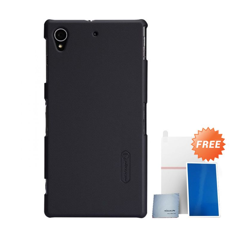 Nillkin Super Frosted Shield Hitam Casing For Sony Xperia Z1 + Nilkin Screen Protector