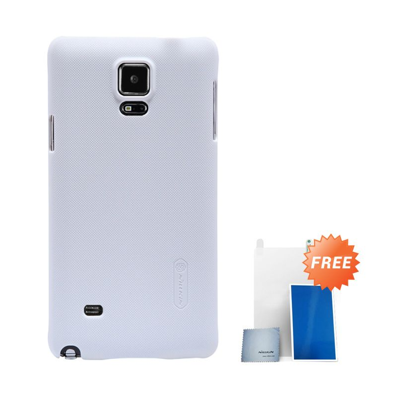 Nillkin Super Frosted Shield Putih Casing For Samsung Galaxy Note 4 + Nilkin Screen Protector