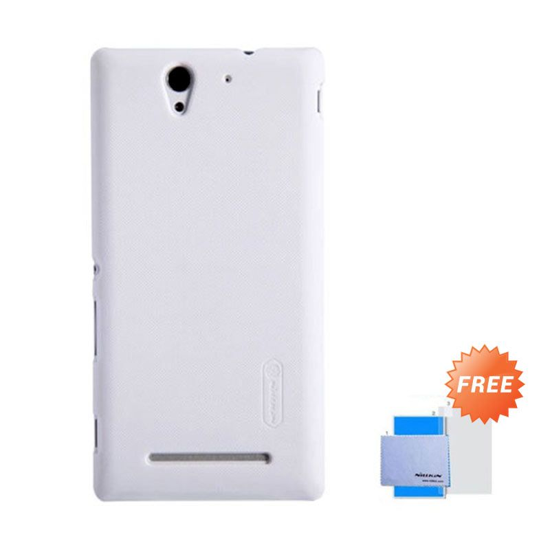 Nillkin Super Frosted Shield Putih Casing For Sony Xperia C3 + Nilkin Screen Protector