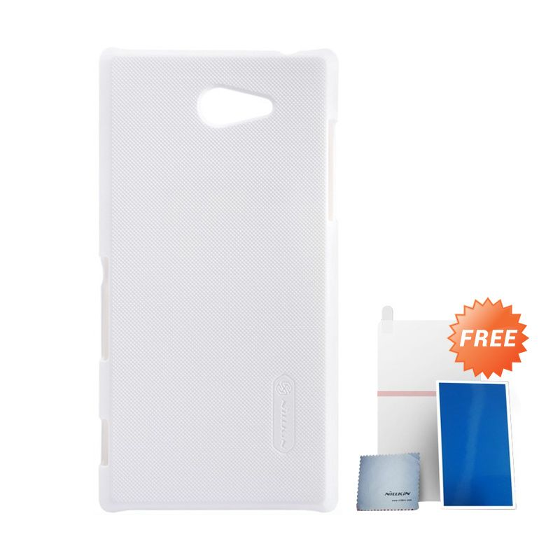 Nillkin Super Frosted Shield Putih Casing For Sony Xperia M2 + Nilkin Screen Protector
