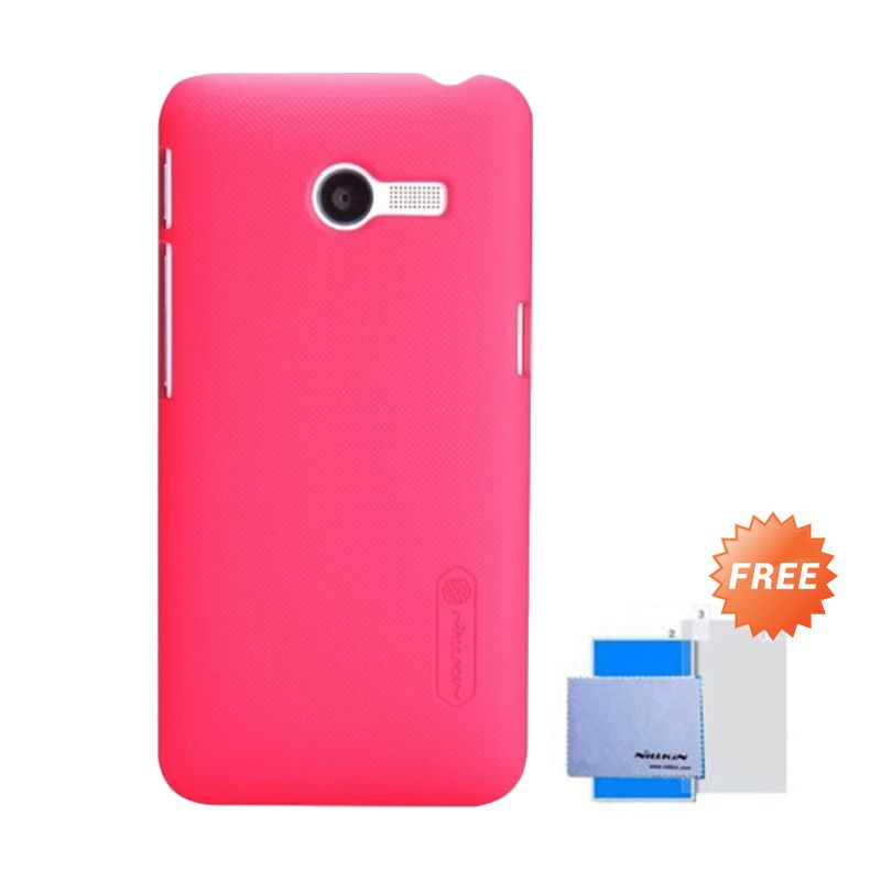 Nillkin Super Frosted Shield Red Casing for Asus Zenfone 4 + Anti Gores