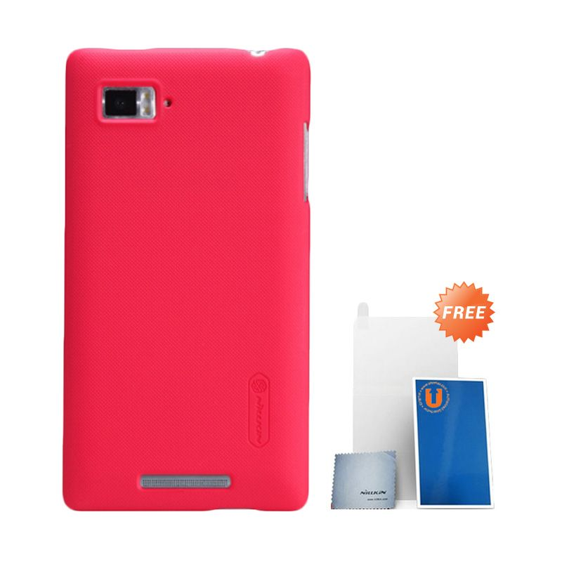 Nillkin Super Frosted Shield Red Casing For Lenovo Vibe Z K910 + Anti Gores