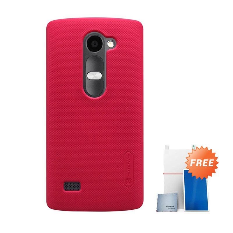 Nillkin Super Frosted Shield Red Casing For LG Leon + Nilkin Screen Protector