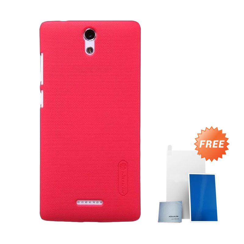 Nillkin Super Frosted Shield Red Casing for Oppo Mirror 3 + Anti Gores