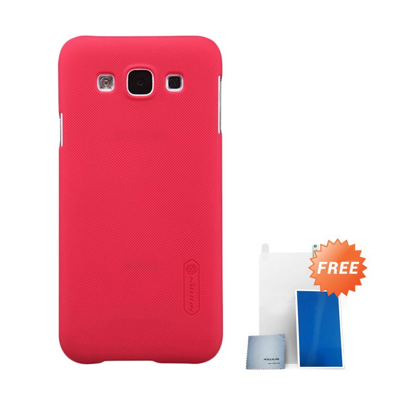 Nillkin Super Frosted Shield Red Casing For Samsung Galaxy E5 + Anti Gores