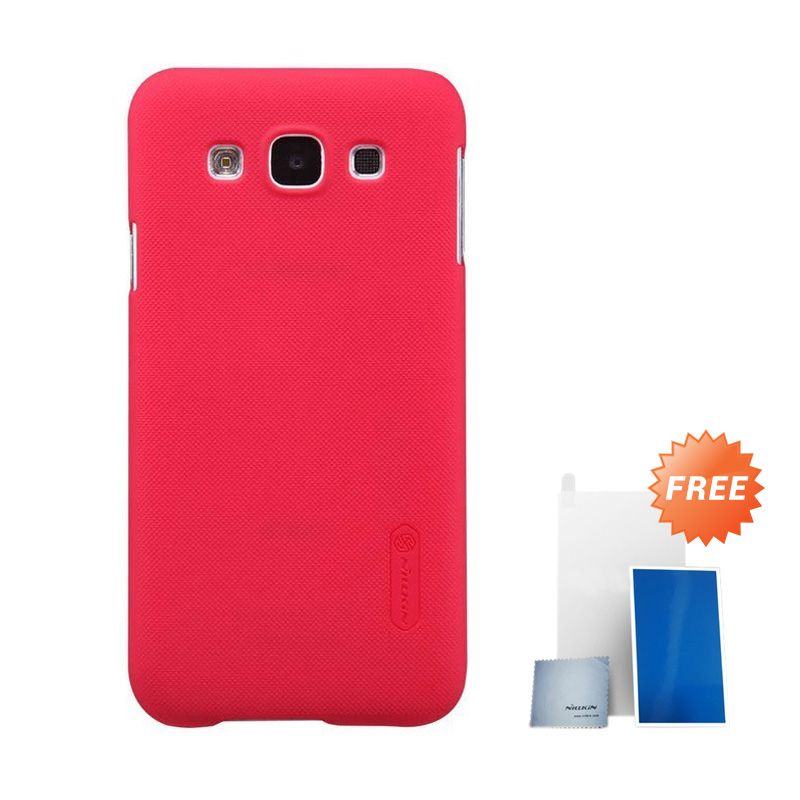 Nillkin Super Frosted Shield Red Casing For Samsung Galaxy E7 + Nilkin Screen Protector