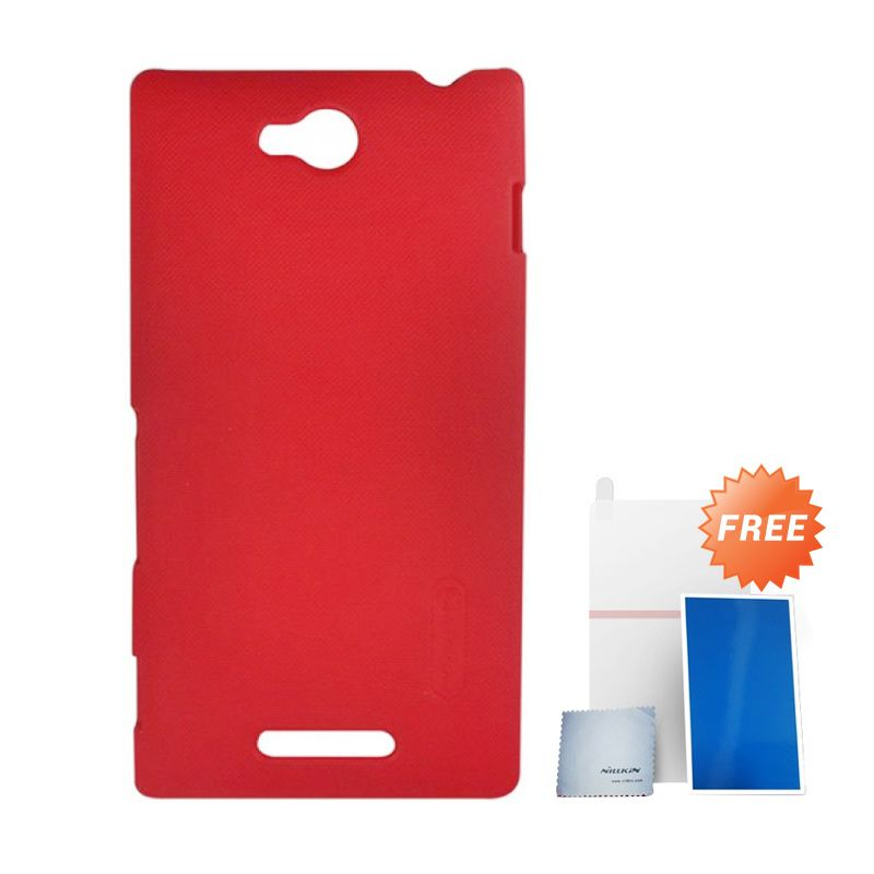 Nillkin Super Frosted Shield Red Casing For Sony Xperia C + Anti Gores