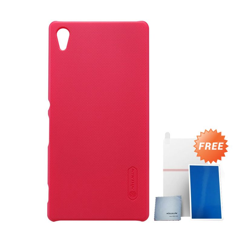 Nillkin Super Frosted Shield Red Casing For Sony Xperia Z3+ or Z4 + Nilkin Screen Protector