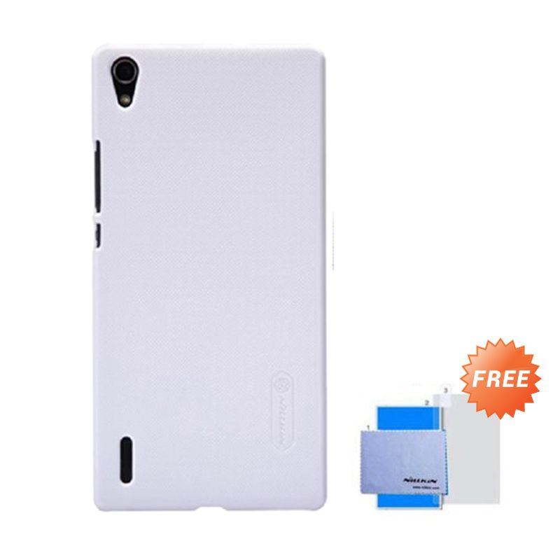 Nillkin Super Frosted Shield White Casing for Huawei Ascend P7 + Anti Gores