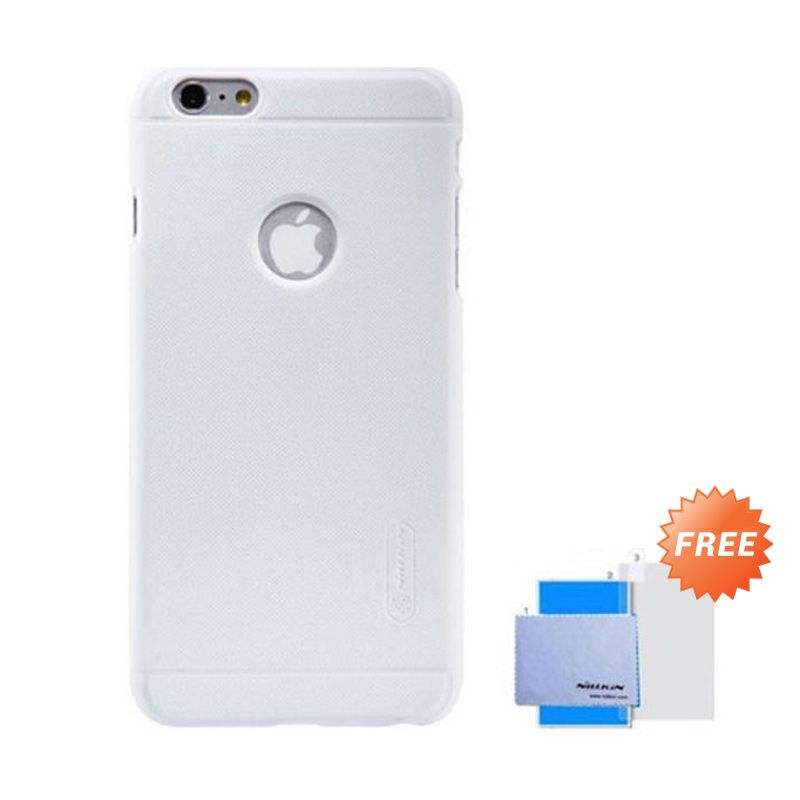 Nillkin Super Frosted Shield White Casing For iPhone 6+ + Anti Gores