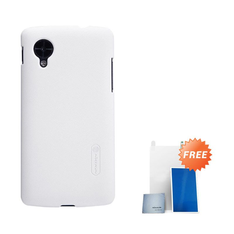 Nillkin Super Frosted Shield White Casing for LG Nexus 5 + Screen Protector